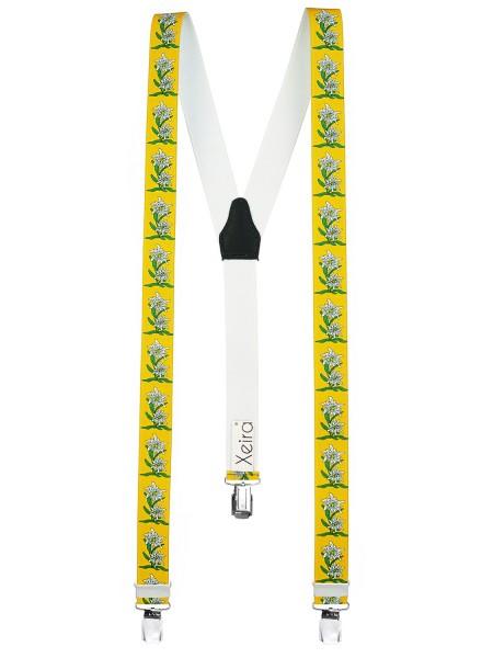 Hochwertige Hosenträger in Edelweiß Design -XL Clips