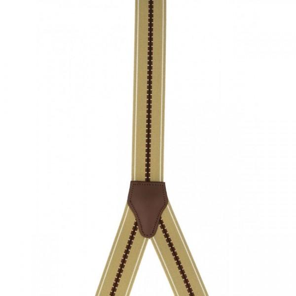 Hosenträger Y Design 4 Clips mit Lederriemen- Beige / Braun