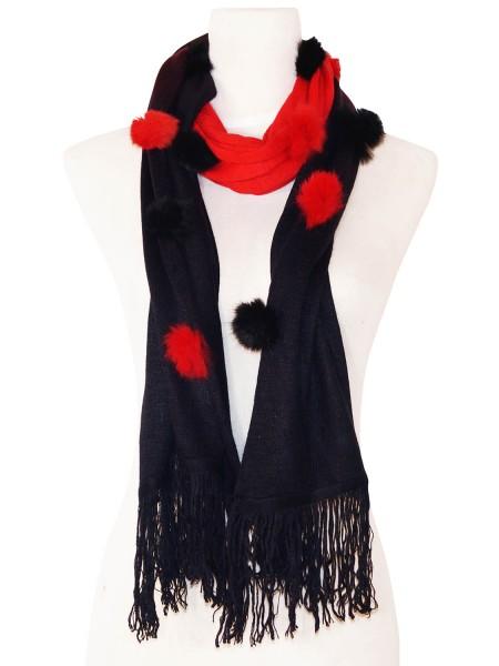 Eleganter Schal - zweifarbig mit Kunstfell Bommeln