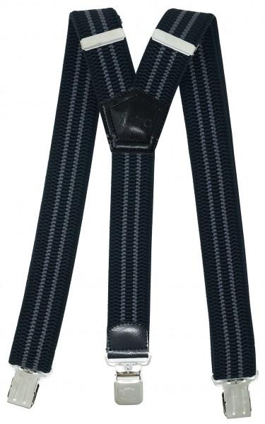 Hosenträger mit 3 Adler Clips 40mm Breit - Schwarz / Grau