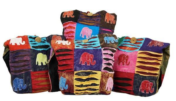 Trendige Ethno Hippie Patchwork Elefant Design Baumwolle Taschen