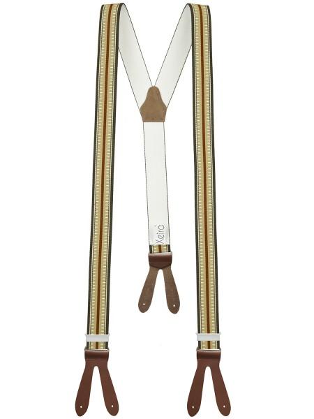 Hochwertige Hosenträger Gestreift Design mit Lederriemen