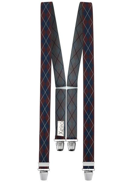 Hosenträger in Vintage Schwarz / Grau Design mit 4 XL Clips