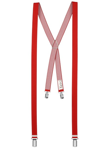Hosenträger X- 4 Clips Design in Uni Farbe - 25mm Breite -Ro