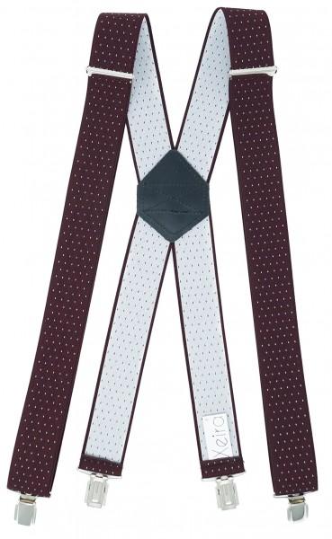 Hosenträger X Design 4 Clips Bordeaux / Weiß Punkte - 120cm