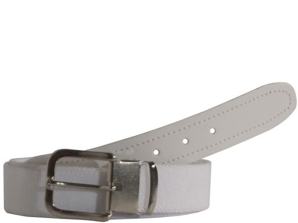 Stretchgürtel / Stoffgürtel - Uni Weiß mit weißem Leder