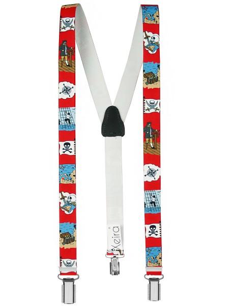 Piraten Kinderhosenträger mit 3 Clips - Rot
