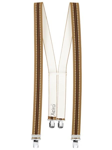 Hosenträger in Braun Gestreiften Design mit 4 XL Clips