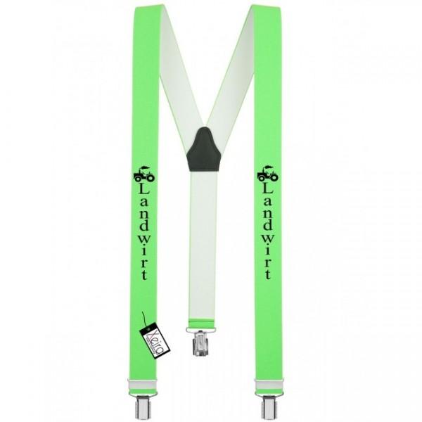 Hosenträger Landwirt Design mit 3 Clips von Xeira -Neon Grün