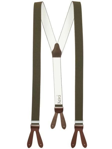 Hosenträger in Trendigen Uni Farben mit Lederriemen