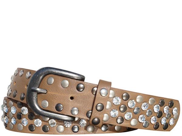 Damengürtel mit Nieten und Strass Steinen im Vintage Style - Beige
