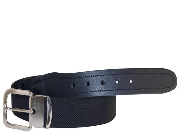 Stretchgürtel / Elastikgürtel in Uni Schwarz mit schwarzem Leder