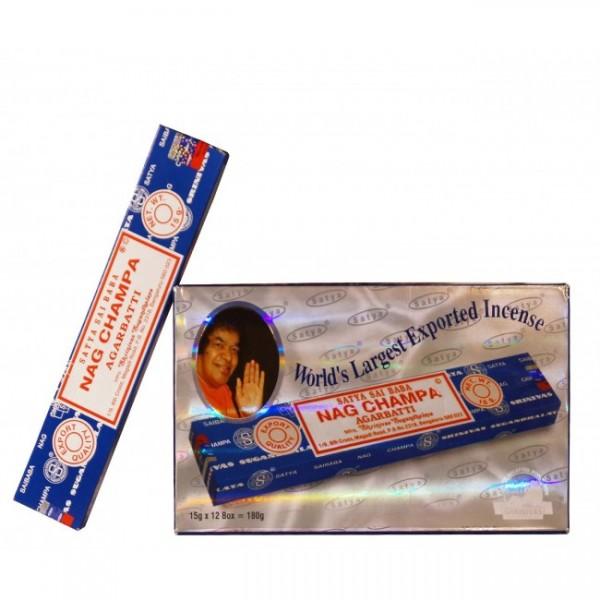 Räucherstäbchen SATYA NAG CHAMPA (blau) 12 x 15g Großpackung 180g